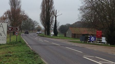 The scene of the fatal accident on the A140 at Erpingham. Picture: ALEX HURRELL