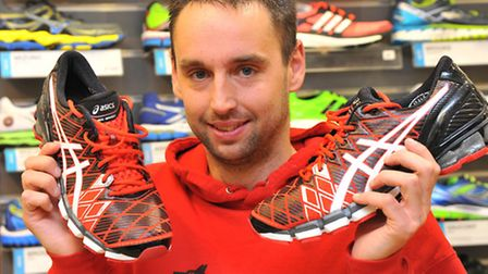 With his choice of running shoes donated by Pilch Sport, Sean Button, who was treated by the air amb