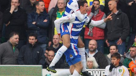 Jake Cooper celebrates his opening goal in Readng's 2-1 Championship win at Norwich City. Picture by