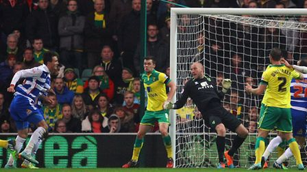 Norwich City keeper John Ruddy is caught out for Reading's second in the 2-1 Championship defeat. Pi