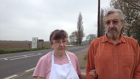 Margaret and Richard Rushmer, who run the Alby Horse Shoes Inn, pictured by the A140. The fatal acci