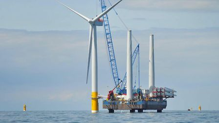 The first turbine installation at the Greater Gabbard Offshore Wind Farm.; EADT 19.5.10; ES 21.5.10