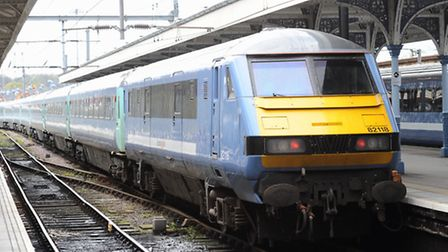 A Greater Anglia train at Norwich on the main line service to London Liverpool Street. Since 5th Feb