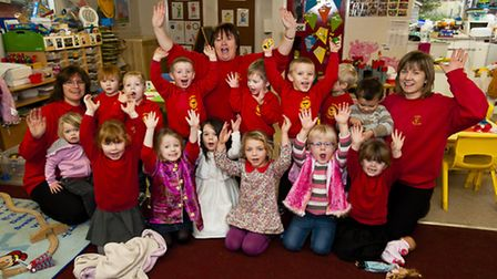 Roughton Under 5's playgroup celebrate their Good Ofsted report in November pictured are members of
