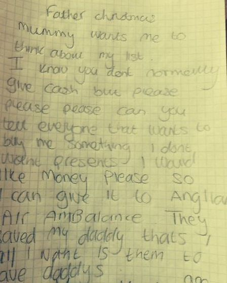 Eight-year-old Maisie Moody's letter to Father Christmas asking for donations for the East Anglian A