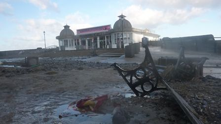 Cromer prom and pier box office damage. Picture: RICHARD BATSON