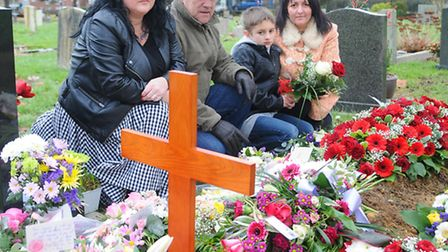 Flowers stolen from Valerie's grave in Earlham Cemetery the day after her funeral. Left to right, Di
