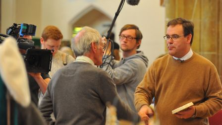 BBC Antiques Road Trip filming at Norwich Fleamarket in St Andrews Hall, Norwich. Expert Paul Laidla