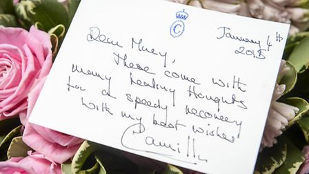 West Norfolk Royal watcher Mary Relph from Shouldham, with the get well message and flowers sent fro