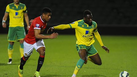 Jamar Loza in action for Norwich City U21s in a 1-1 draw with Manchester United U21s at Carrow Road.
