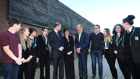 Sir Peter Bazalgette at Open Academy, Norwich. Pictured, centre, with principal Jon Platten, futures