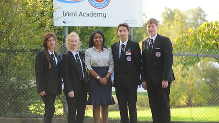 Principle at Iceni Acamdemy, gee cook with pupils after their OfStED improvements. L-r Rosie Soltani