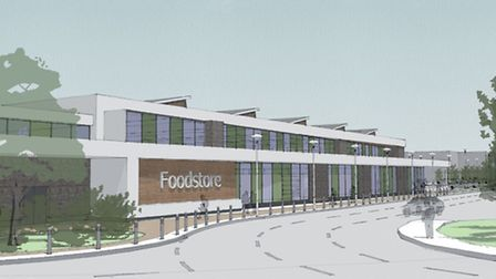 An artist's impression of the new supermarket planned for the Thetford Enterprise Park in Mundford R