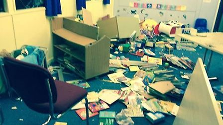 The damage after vandals targeted the me-time mobile at The federation of North Walsham Junior, Infa