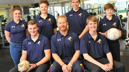 Young Norfolk Sports Academy athletes (back row, from left) Cerys Maryan, Ellie Jamieson, Harry Shea