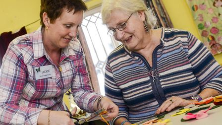 Merle Boddy Centre in Swaffham, has been going for 30 years - Service user Jane Fleming doing some a