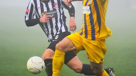Lewis Sturman, left, and Dereham are chasing a play-off finish. Picture: STEVE ADAMS