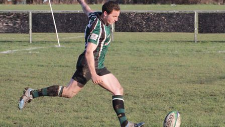 Henry Dewing in action against Romford for North Walsham. Picture: Hywel Jones
