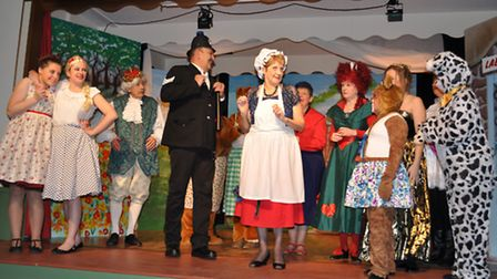 A shot from a previous Cley Amateur Dramatic Society show, Mother Hubbard and the Kings Pantaloons.