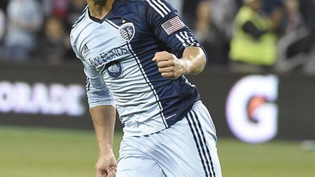 Dom Dwyer celebrates scoring for Sporting Kansas City, again, during his red-hot 2014 season. Pictur