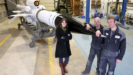 Back home in Norfolk last month, the missile is pictured at Boyer's with Beth Condie, of the Neatish