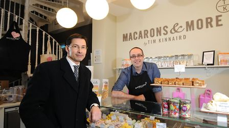 Tim Kinnard, owner of Macarons and More pictured with Nick Dunn of Brown and Co.Picture: ANTONY KELL