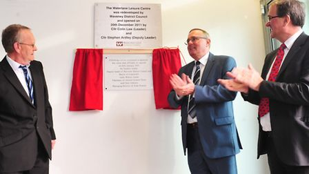 Re-launch of the Water lane leisure centre, Lowestoft.Stephen Ardley unveils the plaque with Andy Wi