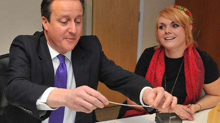 Prime Minister David Cameron during his visit to Lisa Angel Jewellery in Rackheath where he stamped