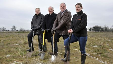 Breaking the ground at the new Snetterton biomass power plant. From left: Kare Dupont, BWSC; Michael