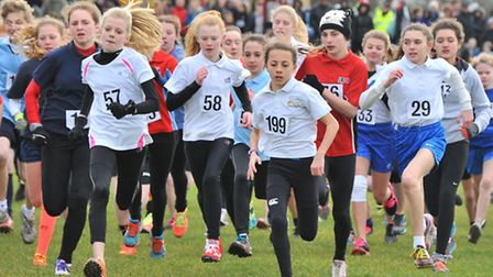 Action from the Norfolk Schools Cross-Country competition at Sloughbottom Park in Norwich.Picture by