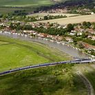 The swing bridge in the village of Reedham shown from the air. Picture: MIKE PAGE