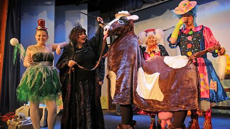 Loddon Players' panto of Jack and the Beanstalk. Left to right, Rebekah Wick as Fairy Liquid, Caroli