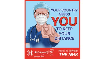 A doctor in full PPE with the words 'Your country needs you to keep your distance'