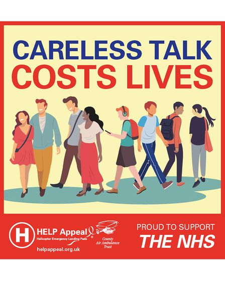 The 'Careless Talk Costs Lives' artwork showing people with no face masks and not socially distancing