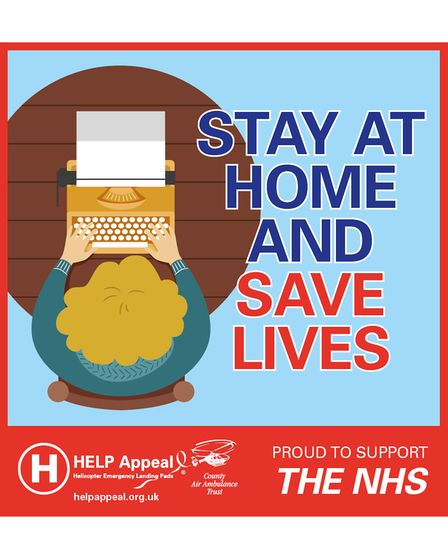 Stay at Home and Save Lives with a person working from home