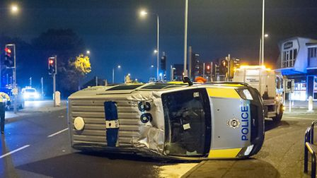 Scene of the collision between a police van and a taxi at the Boundary junction in Norwich. Photo: B
