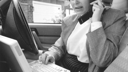 Mobile phone history. Keeping in touch on the Cellnet network. Date: Jan 1994 Picture: EDP Library