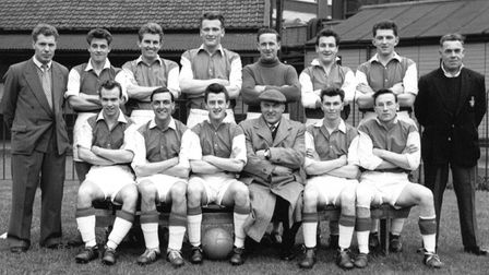 Crane's team at Portman Road in 1960. They lost 2-1 to Cocksege's in the Inter Firm cup Final.; Pict