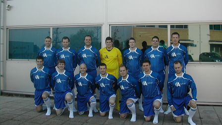The Allport squad who face Suffolk Police Veterans in the Ipswich Inter-Firm Cup semi-final, back ro