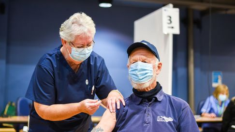 Colin Morrison was given his first Covid-19 vaccination at the Corn Exchange in King's Lynn. Picture