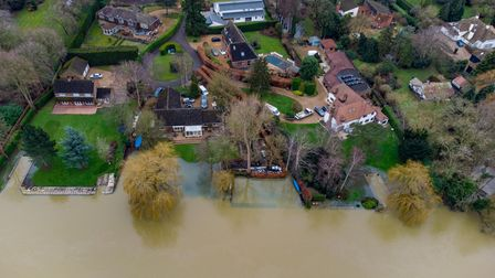 FLOODING Severe flooding in Huntingdon has left gardens underwater.Monday 01 February 2021. Pictur