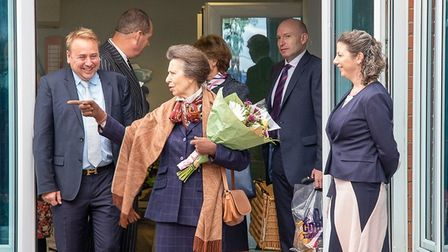 HRH the Princess Royal on her visit to Corkers Crisps near Ely.