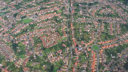 Places - CAerial view of Costessey which is one of the largest village developments in the country