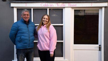Owner of Cobblers Waffle House Rob Wicks alongside manager Emma Knock. The waffle bar will be open for takeaways as of March