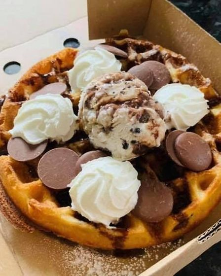 One of the decadent waffles that Faye and Rob began selling last year