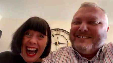 Richard Holland and his wife Tracy and discovering they had won £60,000