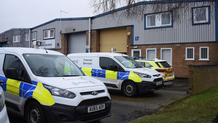 Police and forensic officers at the cannabis factory, Morgan Way at Bowthorpe. Picture: DENISE BRADL