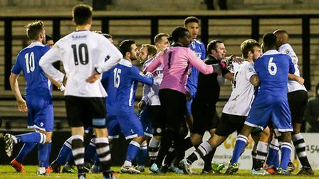 Tempers flare after a penalty is awarded to Hednesford during the Conference North match at Keys Par