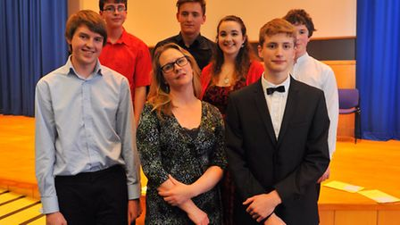 Norfolk Young Musician of the Year winners at the John Innes Centre. Adjudicator Hannah Perowne pict