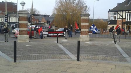 Men claiming to be from the National Rebirth of Poland handing out leaflets outside Norwich Station